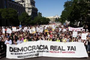 Ciudadanos manifiestan su inconformidad con la crisis española. Foto por ¡DemocraciaRealYa!