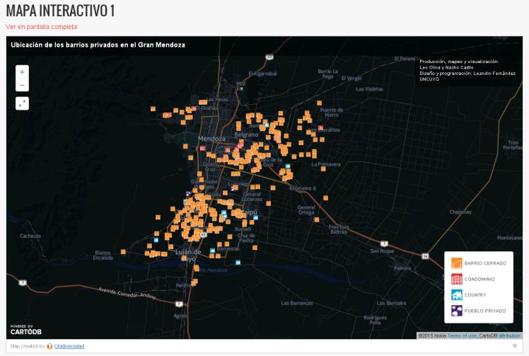 Mapa Interactivo de Barrios Privados en Mendoza Fuente: http://www.unidiversidad.com.ar/ladecadaloteada